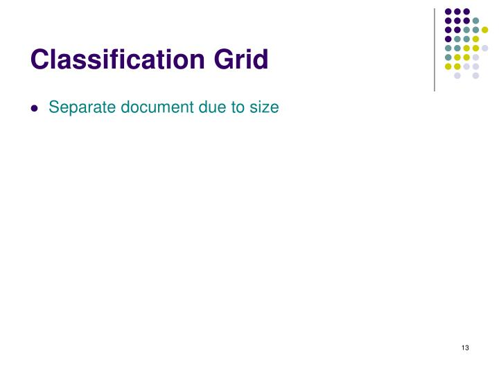 Classification Grid