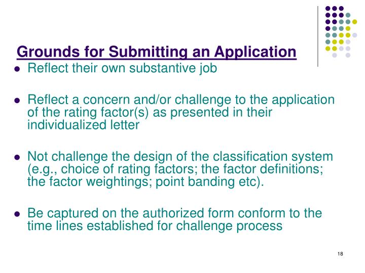 Grounds for Submitting an Application