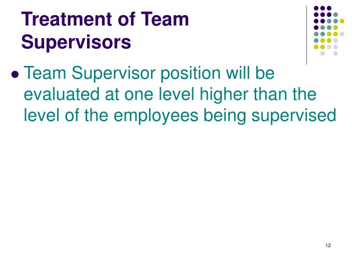 Treatment of Team Supervisors