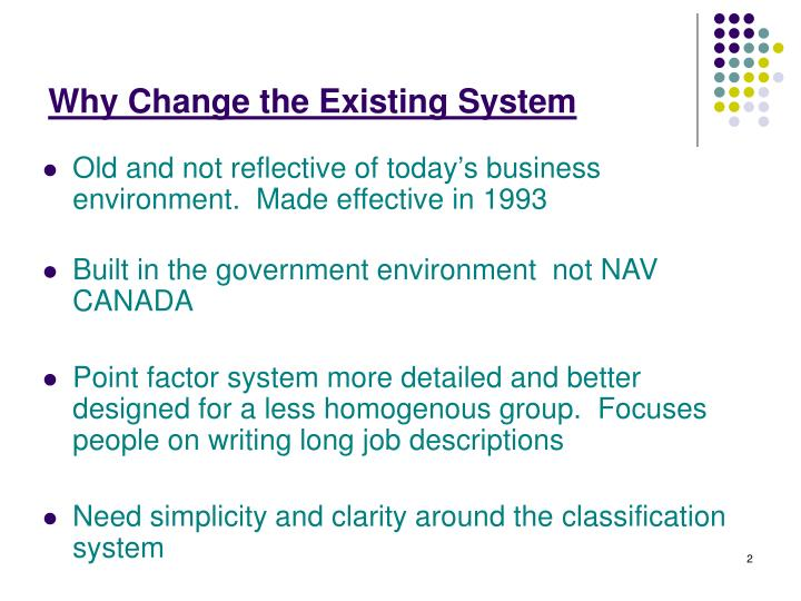 Why Change the Existing System