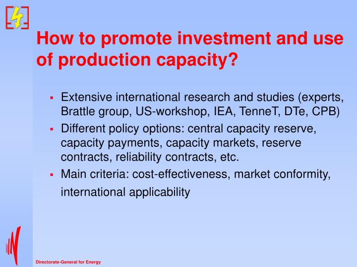 How to promote investment and use of production capacity?
