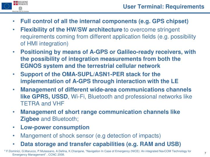 User Terminal: Requirements