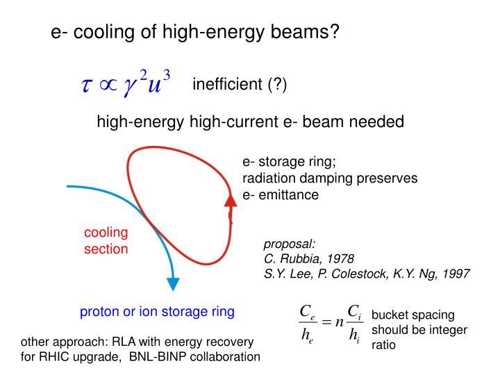 e- cooling of high-energy beams?