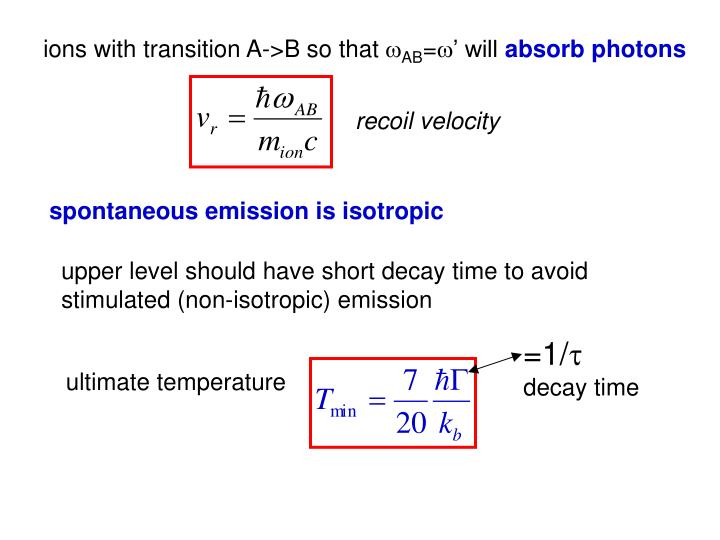 ions with transition A->B so that