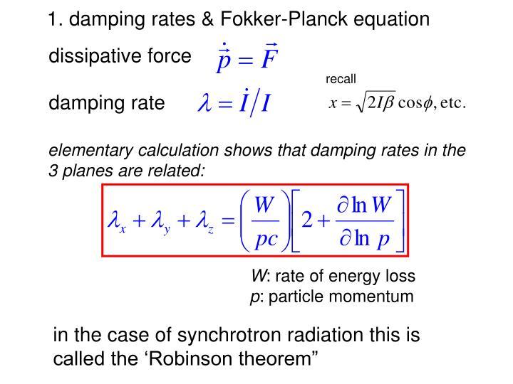 1. damping rates & Fokker-Planck equation