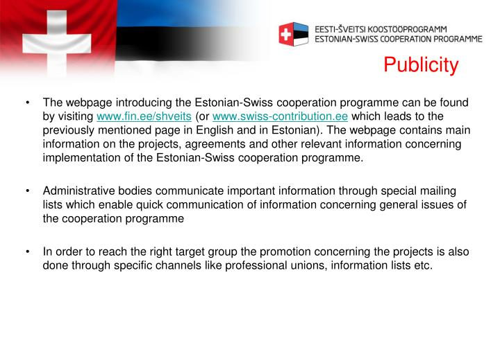 The webpage introducing the Estonian-Swiss cooperation programme can be found by visiting
