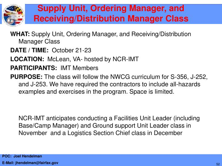Supply Unit, Ordering Manager, and Receiving/Distribution Manager Class
