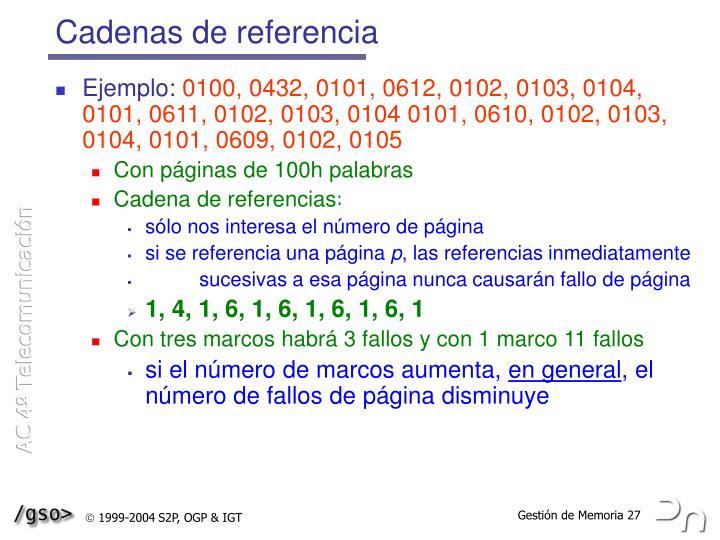 Cadenas de referencia