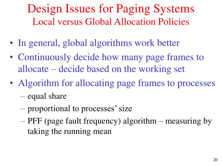 Design Issues for Paging Systems