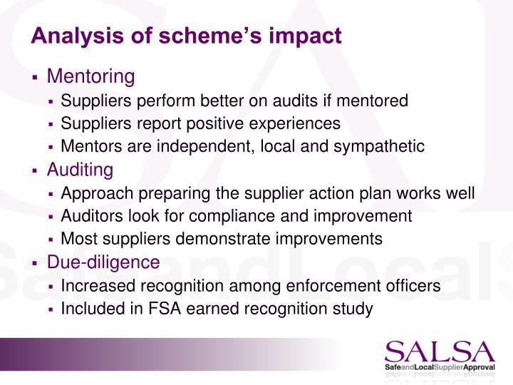 Analysis of scheme's impact