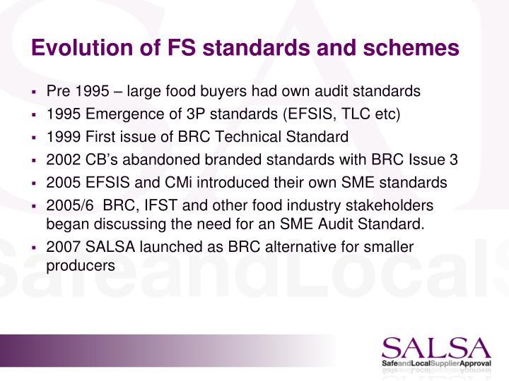 Evolution of FS standards and schemes