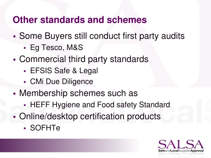 Other standards and schemes