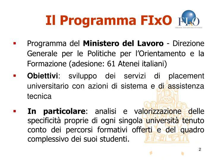 Il Programma FIxO