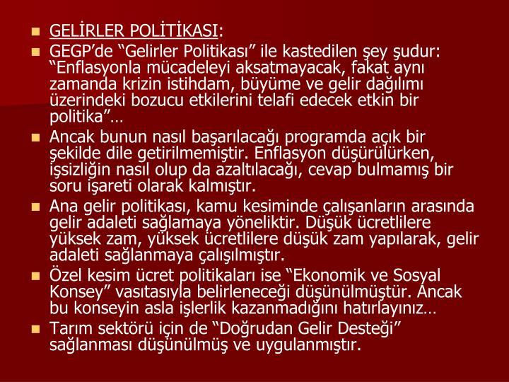 GELİRLER POLİTİKASI