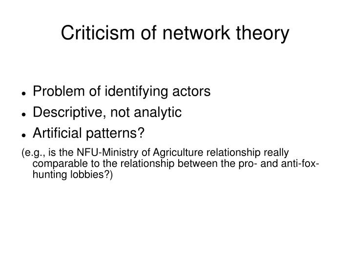 Criticism of network theory