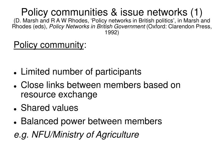 Policy communities & issue networks (1)