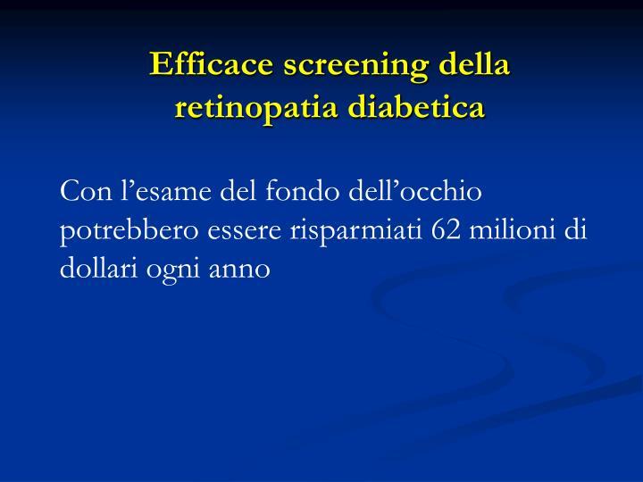 Efficace screening della retinopatia diabetica