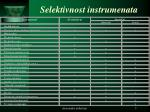 selektivnost instrumenata