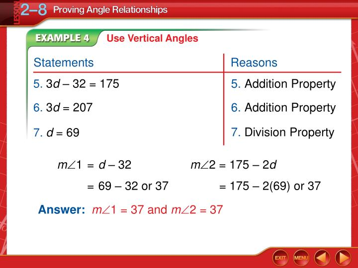Use Vertical Angles
