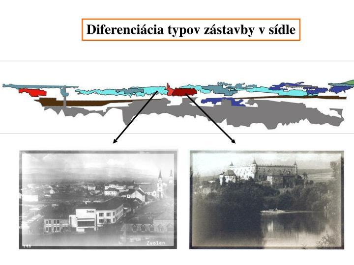 Diferenciácia typov zástavby v sídle