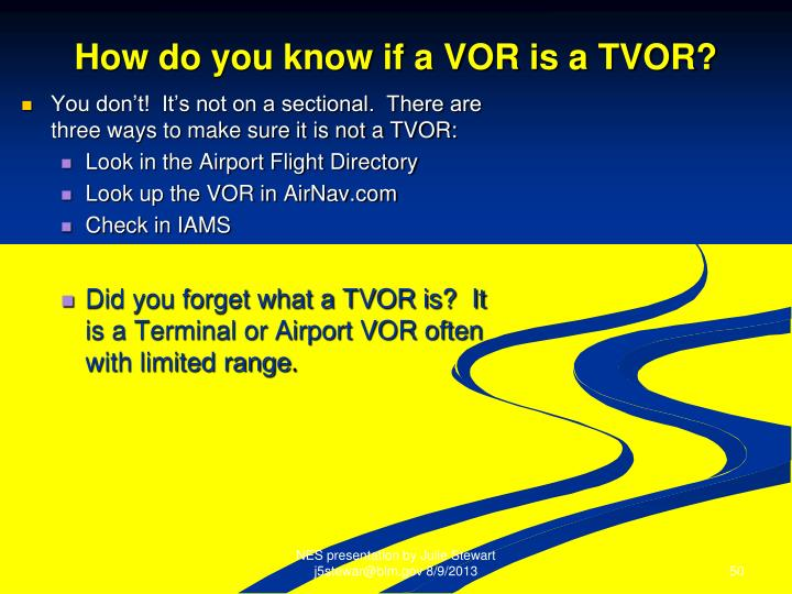How do you know if a VOR is a TVOR?