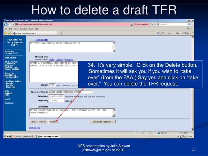 How to delete a draft TFR