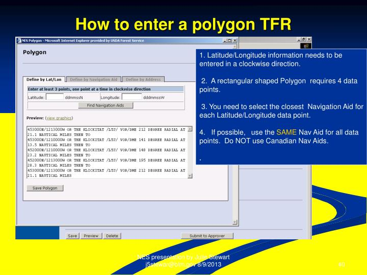 How to enter a polygon TFR