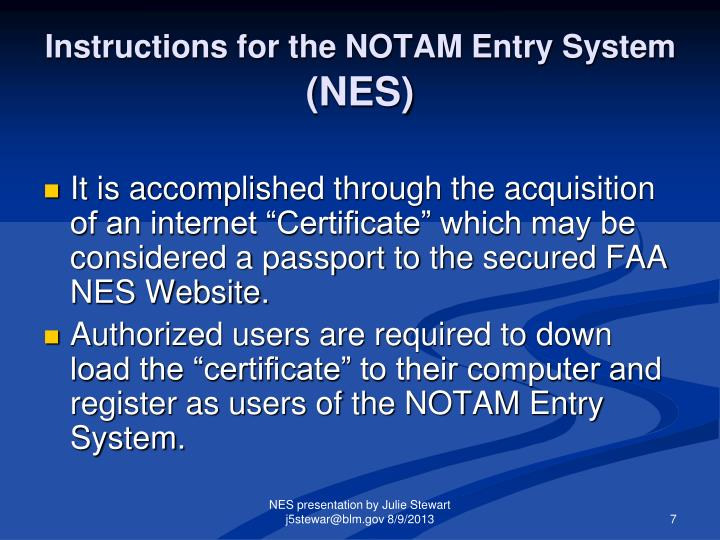 Instructions for the NOTAM Entry System