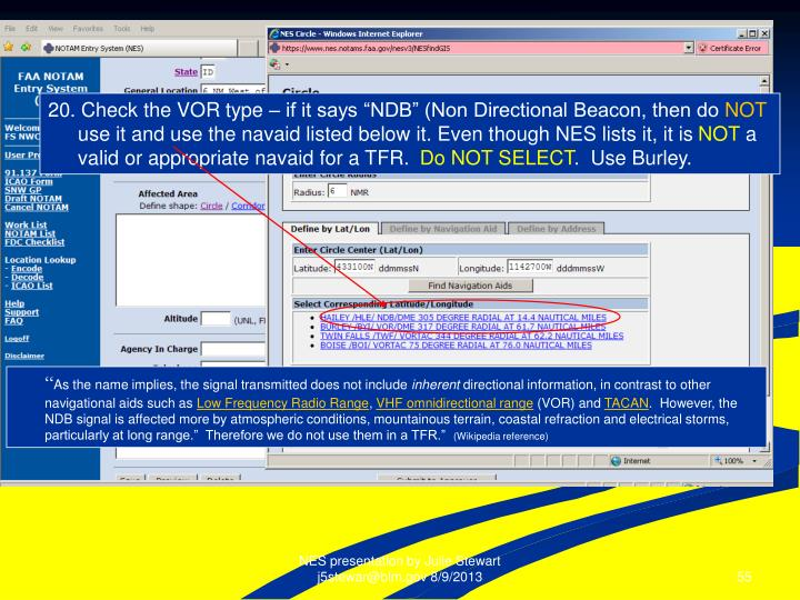"""20. Check the VOR type – if it says """"NDB"""" (Non Directional Beacon, then do"""
