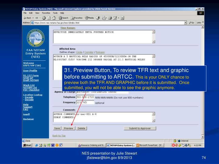 31. Preview Button, To review TFR text and graphic before submitting to ARTCC.