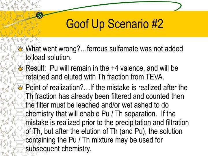 Goof Up Scenario #2