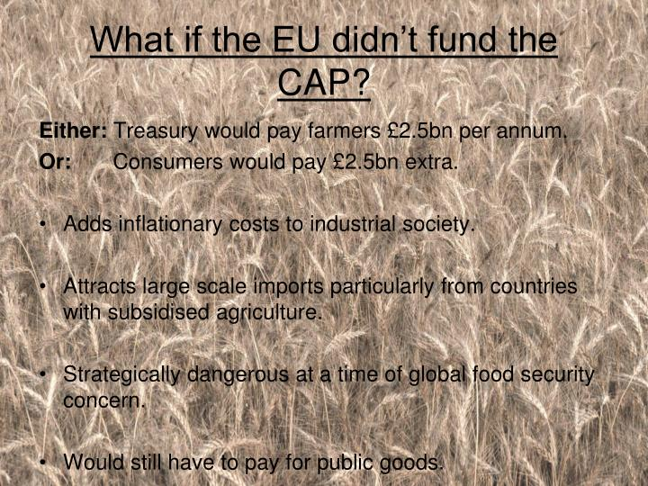 What if the EU didn't fund the CAP?