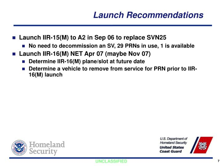 Launch Recommendations