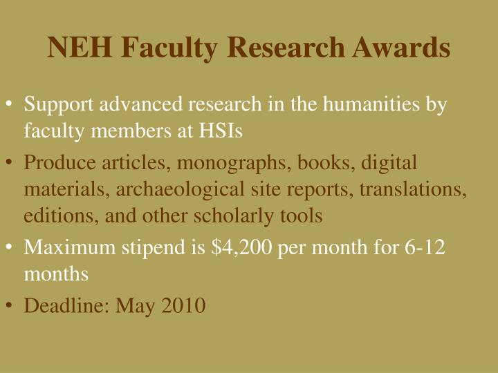 NEH Faculty Research Awards