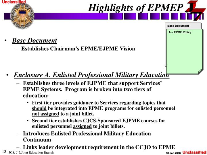 Enclosure A. Enlisted Professional Military Education