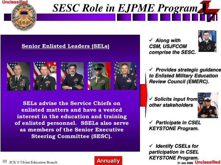 SESC Role in EJPME Program