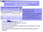 efficiency of the interplanetary magnetic field disturbance
