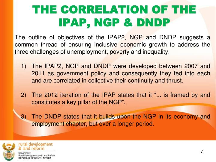 THE CORRELATION OF THE IPAP, NGP & DNDP