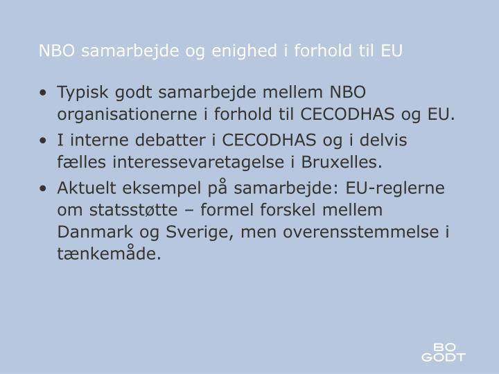 NBO samarbejde og enighed i forhold til EU