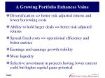 a growing portfolio enhances value