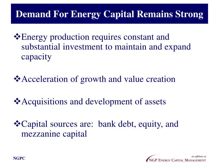 Demand For Energy Capital Remains Strong