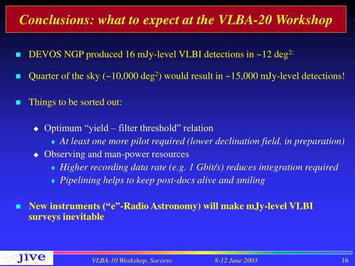 Conclusions: what to expect at the VLBA-20 Workshop