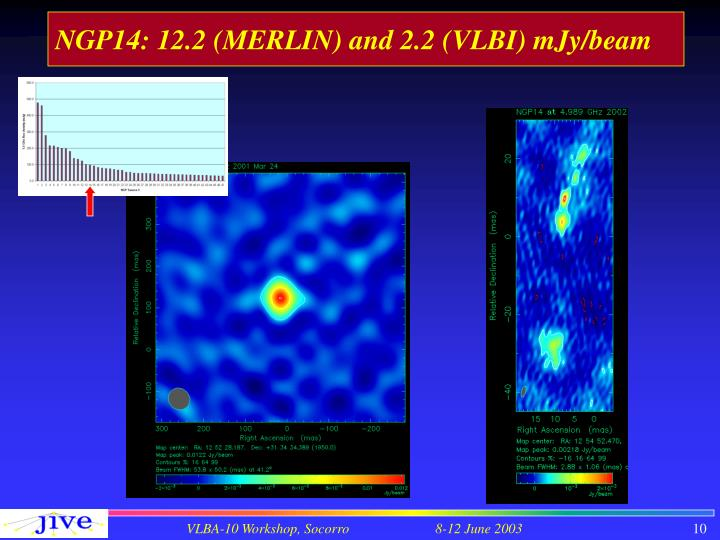 NGP14: 12.2 (MERLIN) and 2.2 (VLBI) mJy/beam