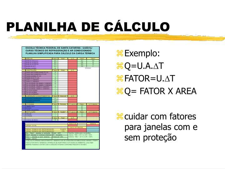 PLANILHA DE CÁLCULO