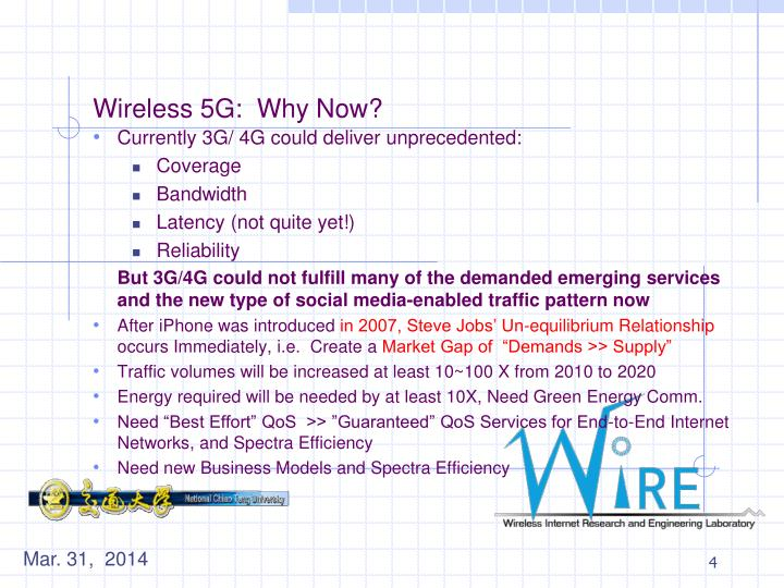 Wireless 5G:  Why Now?