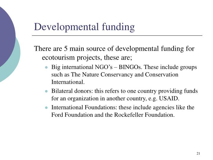 Developmental funding