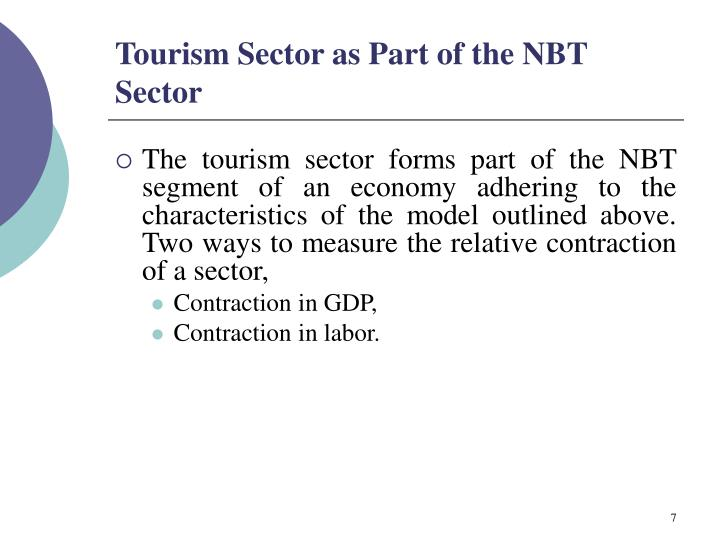 Tourism Sector as Part of the NBT Sector