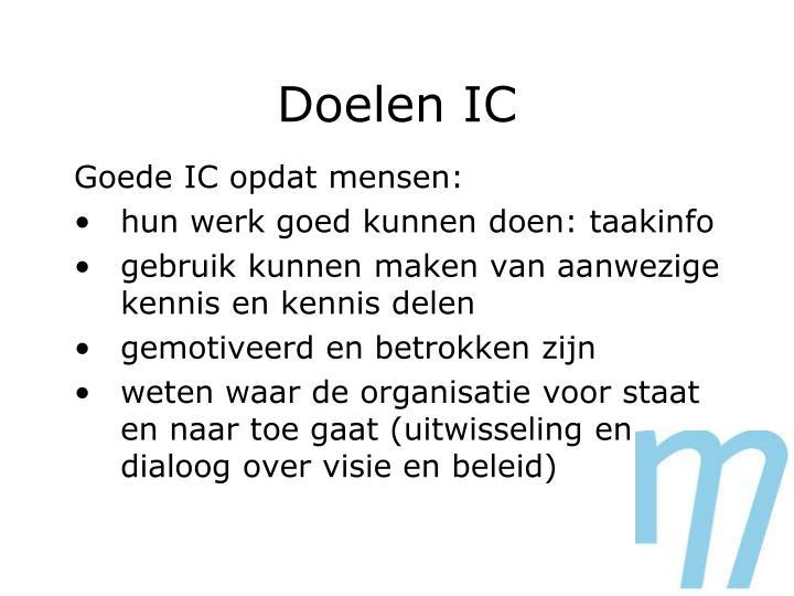 Doelen IC