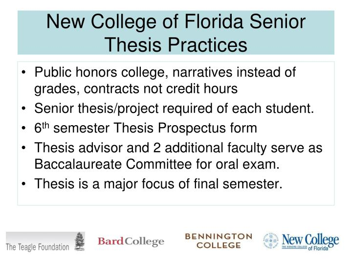 New College of Florida Senior Thesis Practices