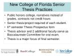 new college of florida senior thesis practices